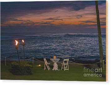 Dinner Setting In Paradise Wood Print by Darcy Michaelchuk