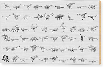 Dinosaur Collection Wood Print by Karl Addison