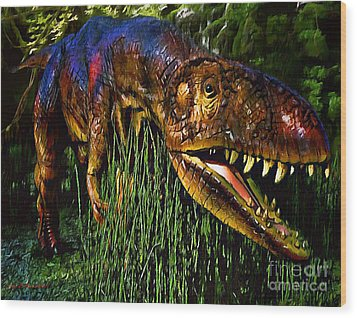 Dinosaur In Reeds Wood Print by Jerry L Barrett