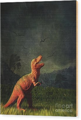 Dinosaur Toy Figure In Surreal Landscape Wood Print by Sandra Cunningham