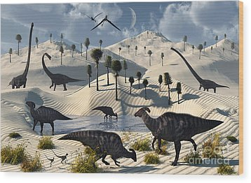 Dinosaurs Gather At A Life Saving Oasis Wood Print by Mark Stevenson