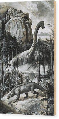 Dinosaurs Wood Print by Roger Payne