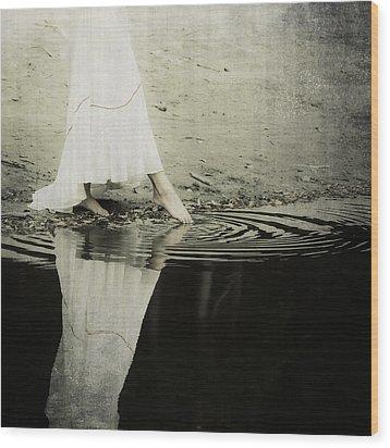 Dipping The Foot Wood Print by Joana Kruse