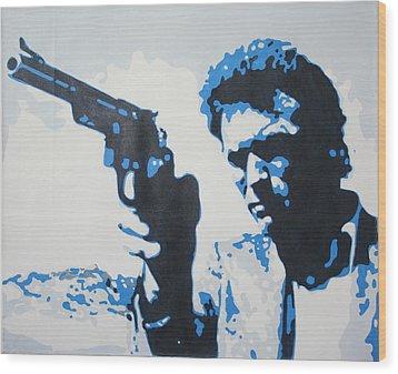 Dirty Harry Wood Print by Luis Ludzska