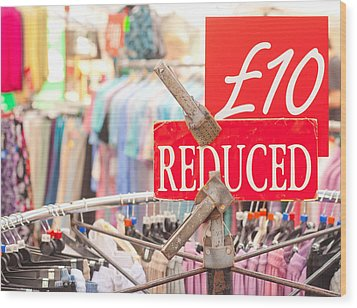 Discount Clothing Wood Print by Tom Gowanlock