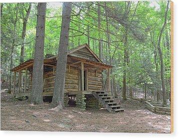 Disharoon Cabin Wood Print by Bob Jackson