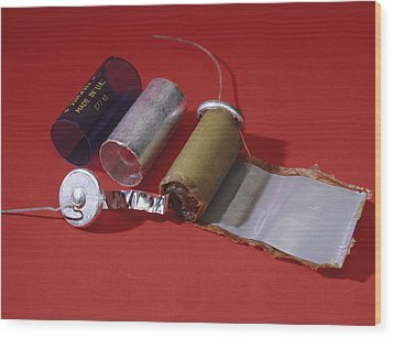 Dismantled Capacitor Wood Print by Andrew Lambert Photography