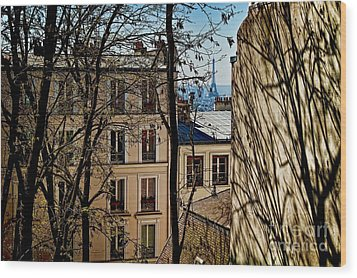 Wood Print featuring the photograph Distant Eiffel by Kim Wilson