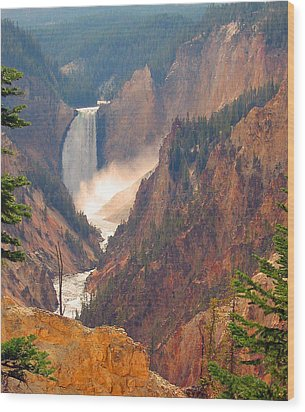 Distant Thunder-lower Waterfall Of Yellowstone Wood Print