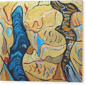 Distorted Dialog Between Two Contemporary Philosophers Wood Print by Kazuya Akimoto