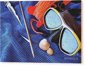 Dive Gear Wood Print by Carlos Caetano