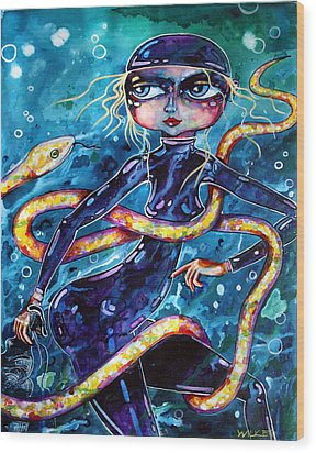 Diving With Serpent Wood Print by Leanne Wilkes