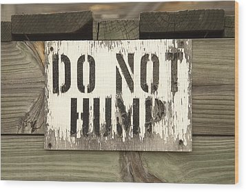 Do Not Hump Wood Print by Mike McGlothlen