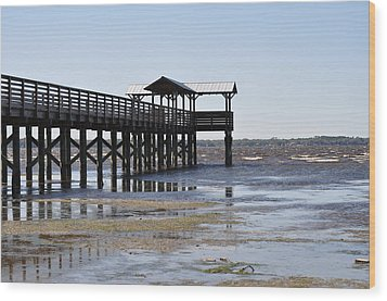 Dock At Low Tide Wood Print by Tiffney Heaning