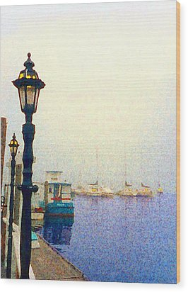 Dock At Newburyport Harbor Wood Print