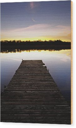 Dock At Sunset Wood Print by Gareth McCormack