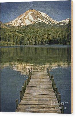 Dock On Mountain Lake Wood Print by Jill Battaglia