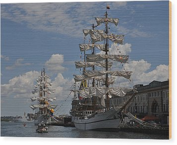 Docked At Fish Pier Wood Print by Mike Martin