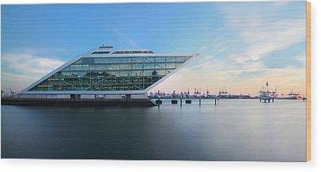 Dockland Evening Wood Print by Marc Huebner