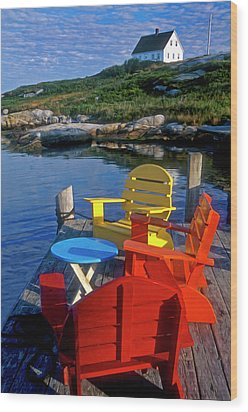 Dockside At Peggys Cove Wood Print by Dave Mills