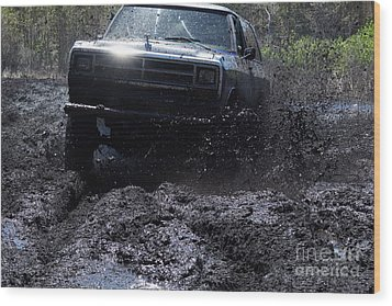 Dodge Ramcharger In Local Mud Wood Print by Lynda Dawson-Youngclaus