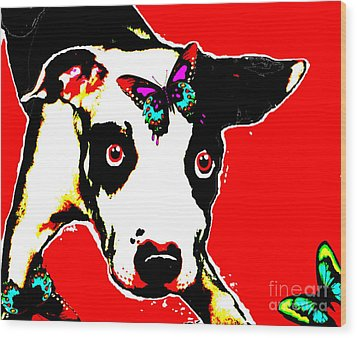 Wood Print featuring the painting Dog And Butterfly by Jann Paxton