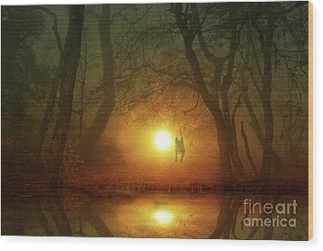Wood Print featuring the photograph Dog At Sunset by Bruno Santoro