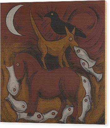 Dog Dream Wood Print by Sophy White