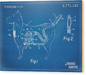 Doggie Vacuum Patent Artwork Wood Print by Nikki Marie Smith