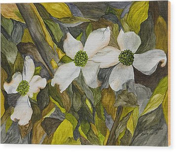 Dogwoods Wood Print by Mary Ann King
