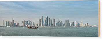 Doha Skyline Feb 2012 Wood Print by Paul Cowan
