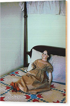 Doll On Four Poster Bed Wood Print by Susan Savad