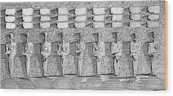 Wood Print featuring the drawing Dolls Of Idegos by James Lanigan Thompson MFA