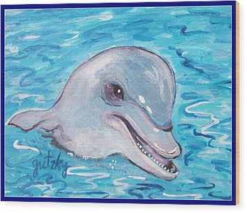 Dolphin 2 Wood Print by Paintings by Gretzky