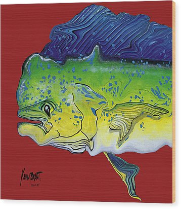 Dolphin Headach Wood Print by Kevin Brant