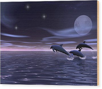 Wood Print featuring the digital art Dolphin Moon. by Walter Colvin