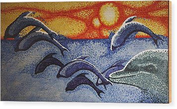 Dolphins In The Sun Wood Print