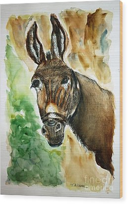 Donkey Wood Print by Therese Alcorn