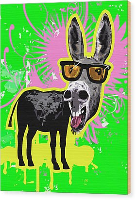 Donkey Wearing Sunglasses, Laughing Wood Print by New Vision Technologies Inc
