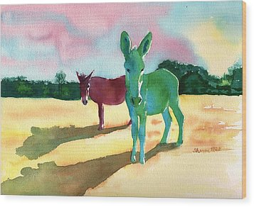 Donkeys With An Attitude Wood Print by Sharon Mick