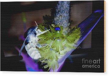 Don't Bee Blue Wood Print by Renee Trenholm
