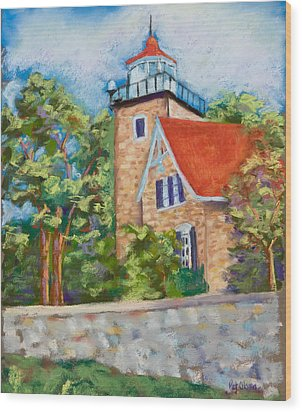 Door County Lighthouse Wood Print by Pat Olson