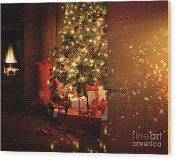Door Opening Onto Nostalgic Christmas Scene   Wood Print by Sandra Cunningham