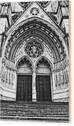 Doors To Saint John The Divine Wood Print by Anne Raczkowski