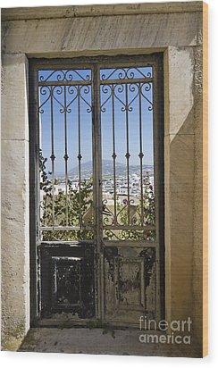 Doorway To Santorini Wood Print by Dennis Hedberg