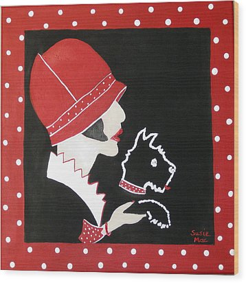 Dottie With The Scottie 1 Wood Print by Susan McLean Gray