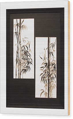 Wood Print featuring the painting Double Bamboo by Alethea McKee