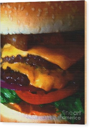 Double Cheeseburger With Bacon - Painterly Wood Print by Wingsdomain Art and Photography