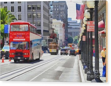 Double Decker Sightseeing Bus Along Powell Street In San Francisco California . 7d7269 Wood Print by Wingsdomain Art and Photography