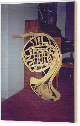 Double French Horn Wood Print
